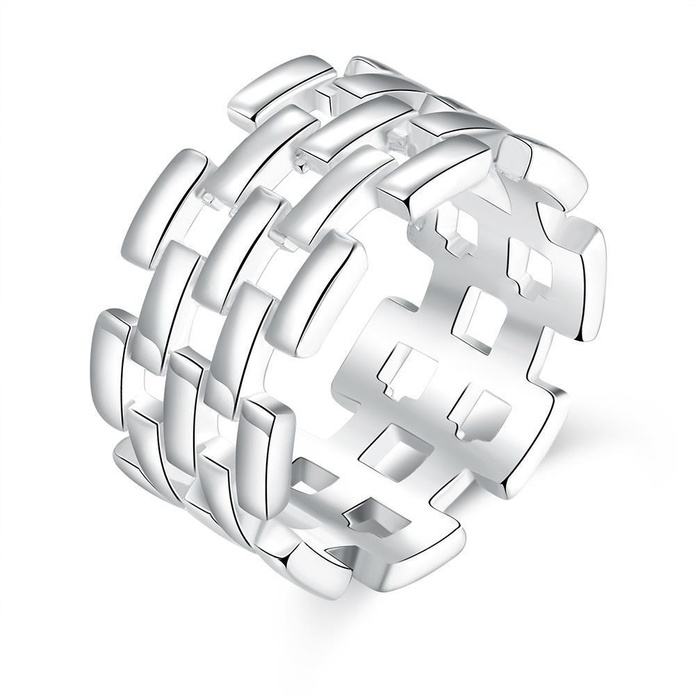 Vienna Jewelry Sterling Silver Laser Cut Horizontal Cut Band Size: 8