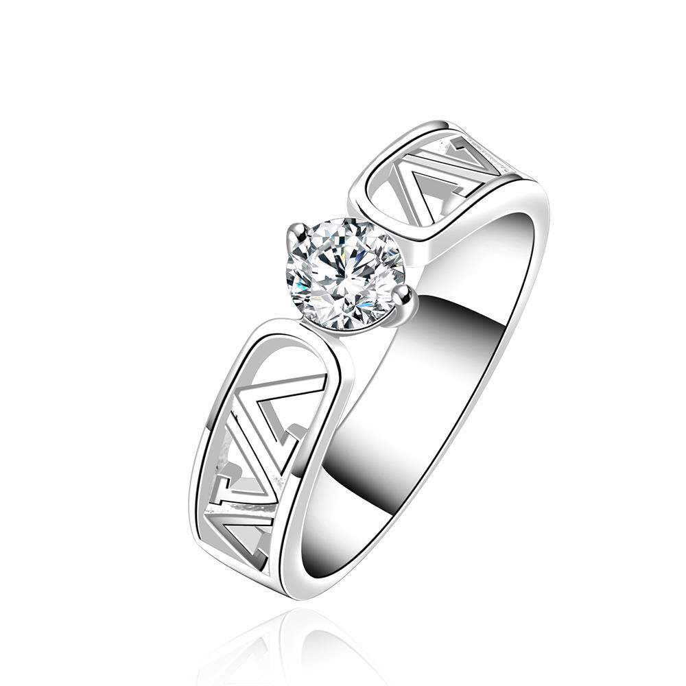 Vienna Jewelry Sterling Silver Laser Cut Lined Crystal Ring Size: 8