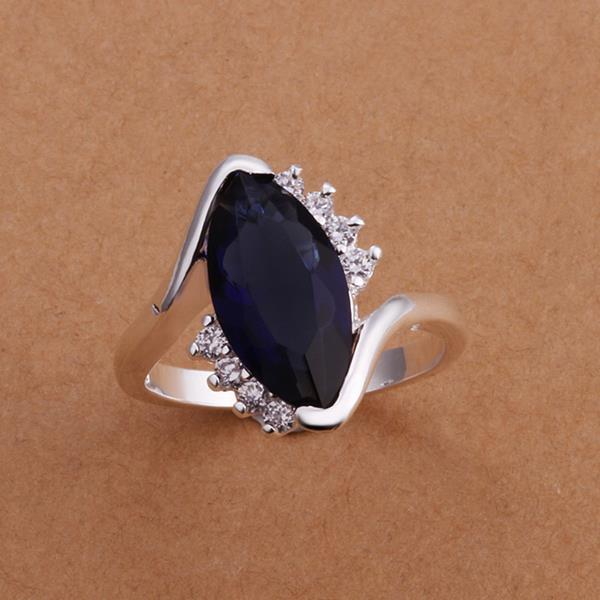 Vienna Jewelry Sterling Silver Mock Sapphire Curved Petite Ring Size: 8