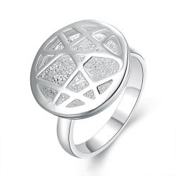 Vienna Jewelry Sterling Silver Laser Cut Circular Pendant Petite Ring Size: 7 - Thumbnail 0