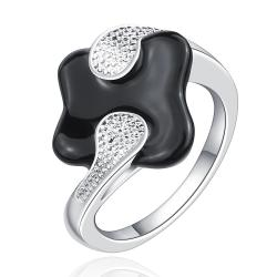 Vienna Jewelry Sterling Silver Onyx Plating Jewels Covering Curved Petite Ring Size: 7 - Thumbnail 0