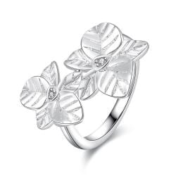 Vienna Jewelry Sterling Silver Duo-Floral Petals Petite Ring Size: 7 - Thumbnail 0