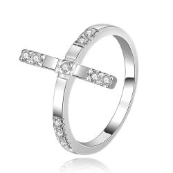 Vienna Jewelry Sterling Silver Horizontal Lined Jewels Covering Ring Size: 8 - Thumbnail 0