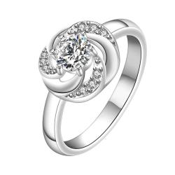 Vienna Jewelry Classic Crystal Swirl Design Petite Ring Size: 8 - Thumbnail 0