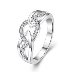 Vienna Jewelry Sterling Silver Intertwined Jewels Band Ring Size: 8 - Thumbnail 0