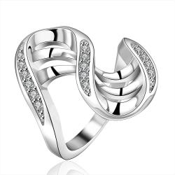 Vienna Jewelry Sterling Silver Multi Lined Curved Abstract Ring Size: 8 - Thumbnail 0