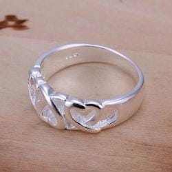 Vienna Jewelry Sterling Silver Interlocking Heart Design Petite Ring Size: 8 - Thumbnail 0