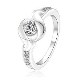 Vienna Jewelry Sterling Silver Curved Jewel Emblem Petite Ring Size: 7 - Thumbnail 0