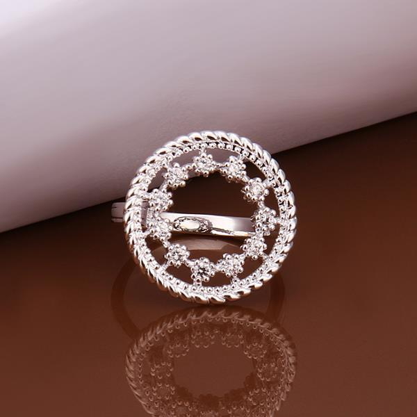 Vienna Jewelry Sterling Silver Circular Jewels Emblem Petite Ring Size: 8