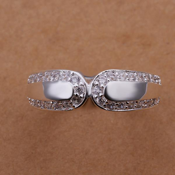 Vienna Jewelry Sterling Silver Duo Crystal Lining Petite Ring Size: 8