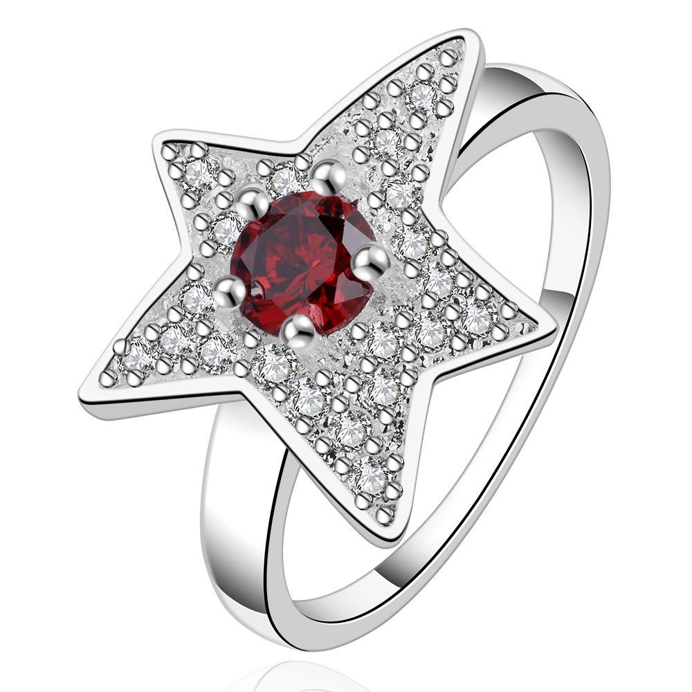Vienna Jewelry Sterling Silver Starfish Ruby Design Ring Size: 8