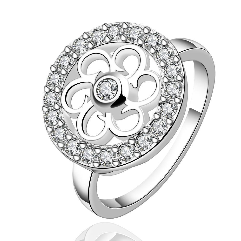 Vienna Jewelry Sterling Silver Clover Circular Emblem Ring Size: 8