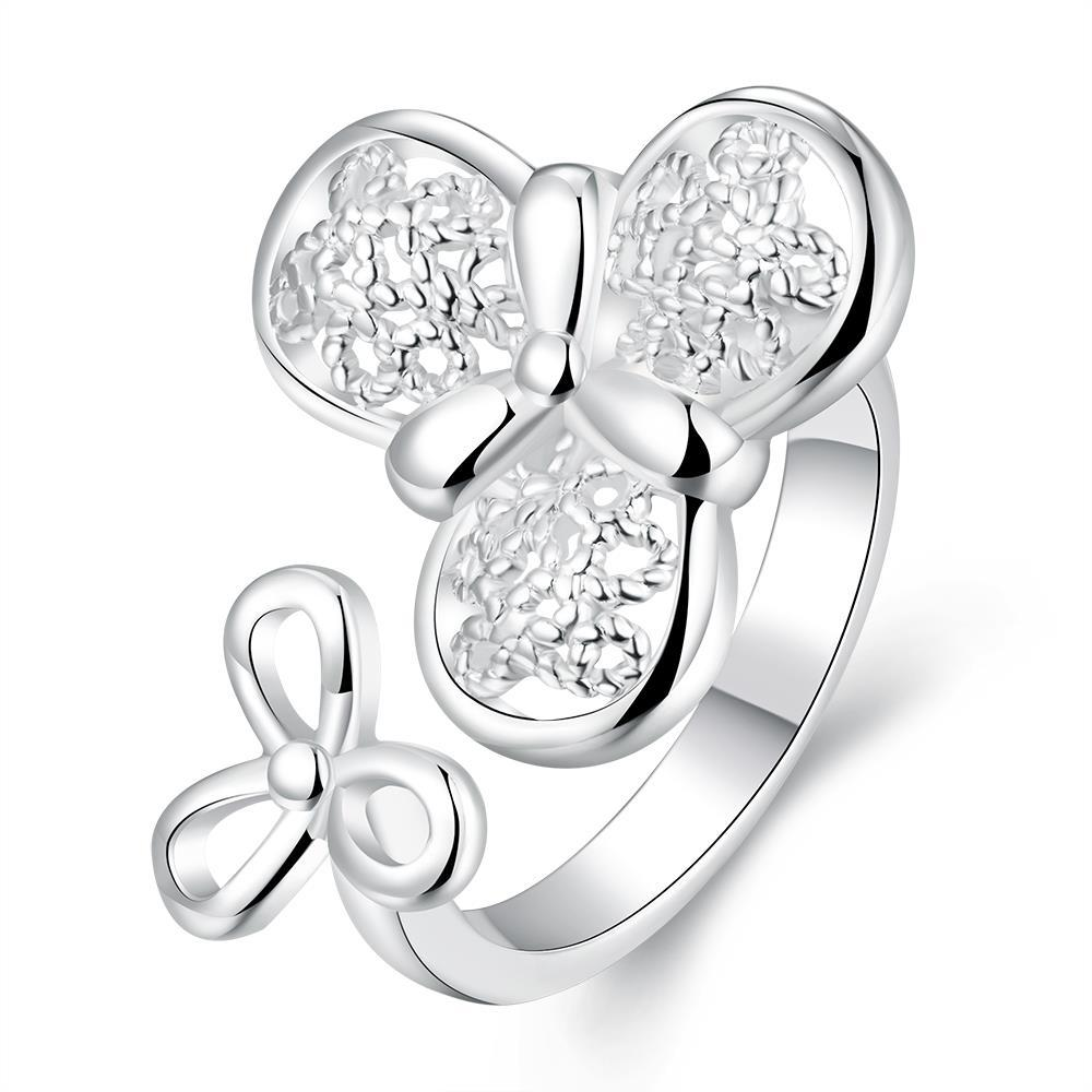 Vienna Jewelry Sterling Silver Petite Duo-Clover Modern Ring Size: 8