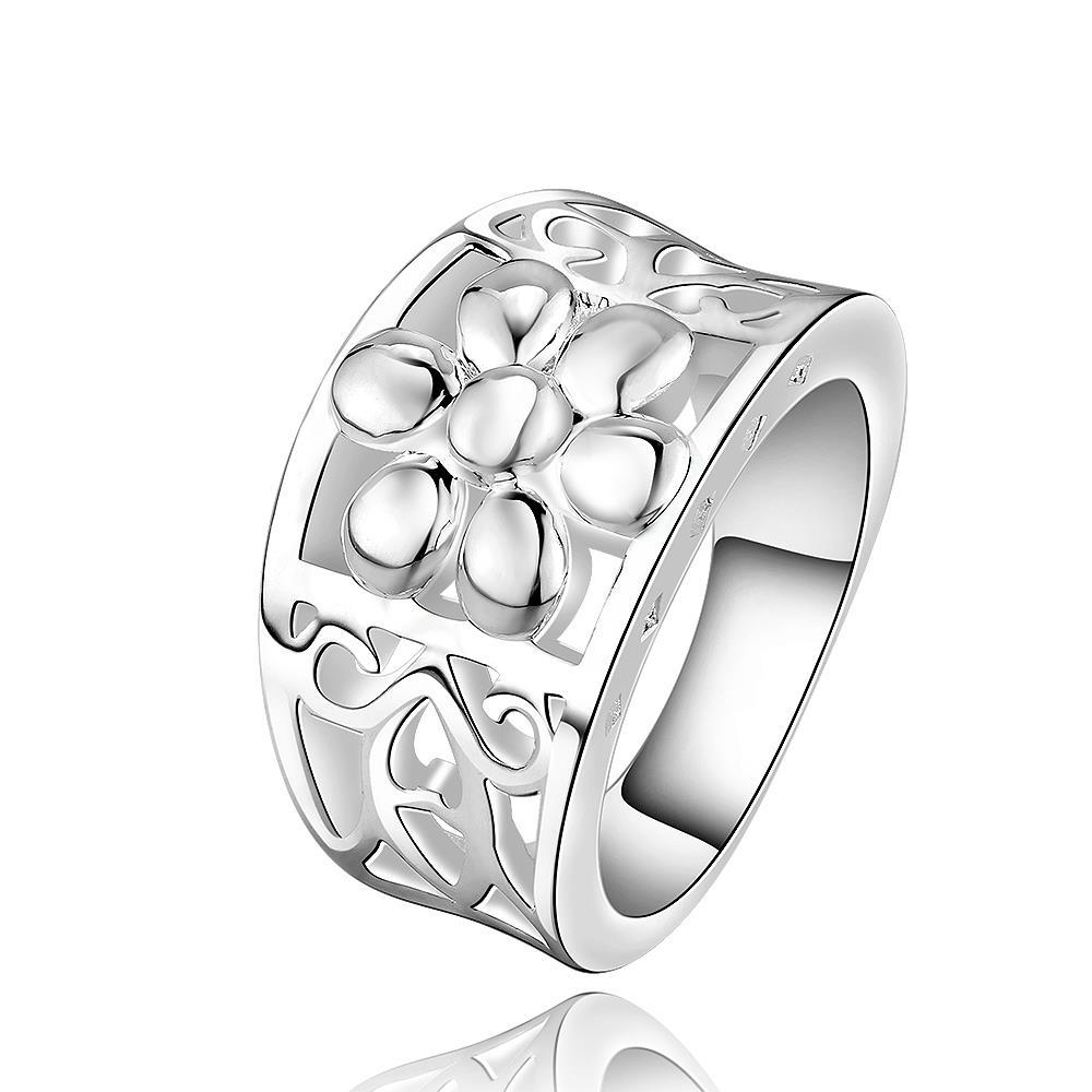 Vienna Jewelry Sterling Silver Floral Inprint Wedding Band Size: 8