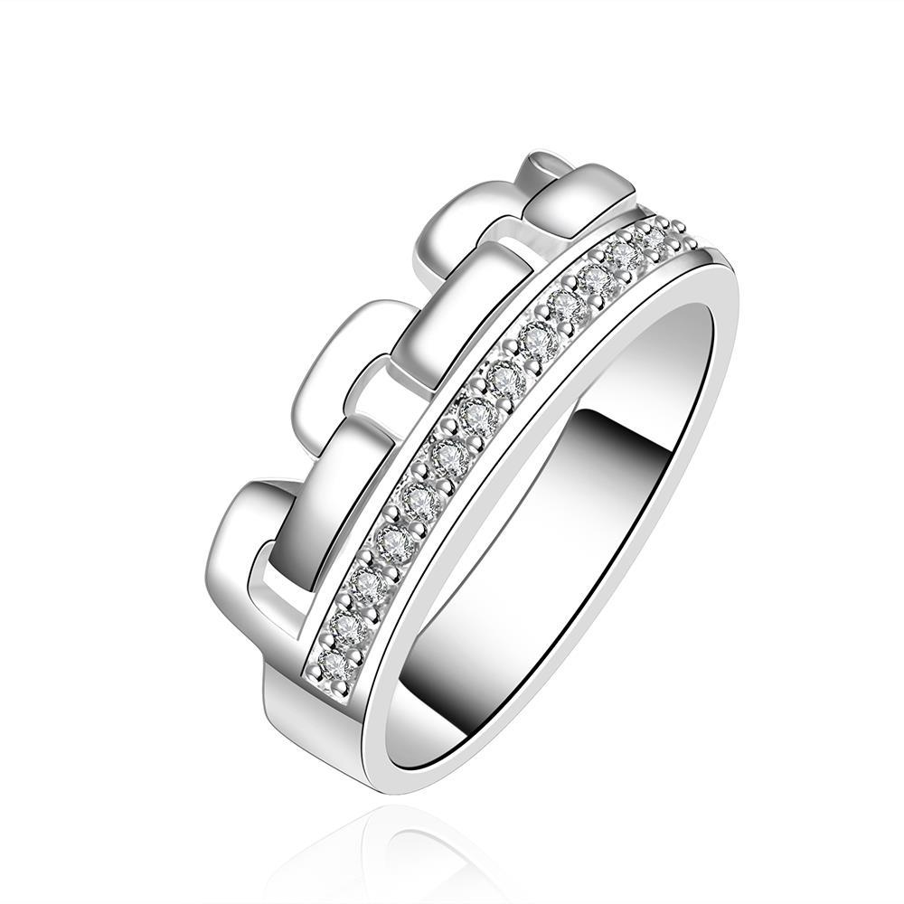 Vienna Jewelry Sterling Silver Interlocked Crystal Lined Ring Size: 8