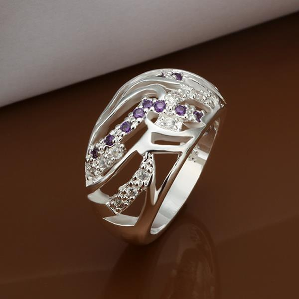 Vienna Jewelry Sterling Silver Purple Citrine Laser Cut Petite Ring Size: 8