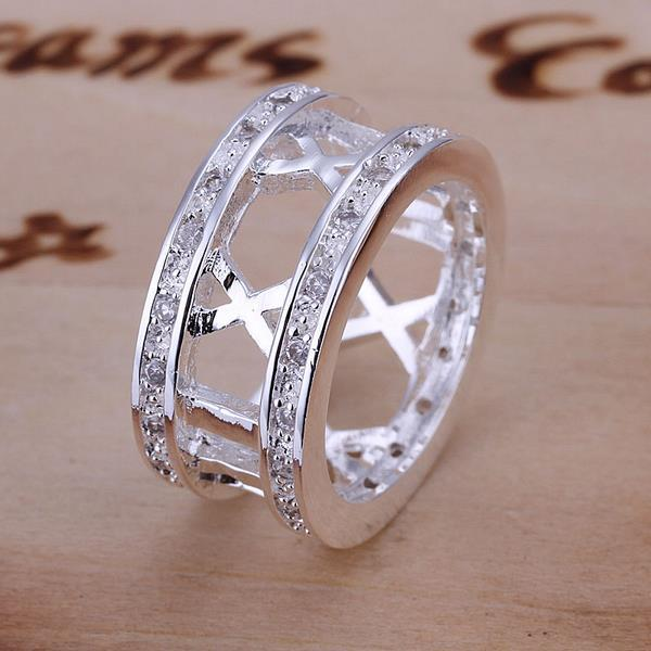Vienna Jewelry Sterling Silver Vertical Lined Classic Ring Size: 8