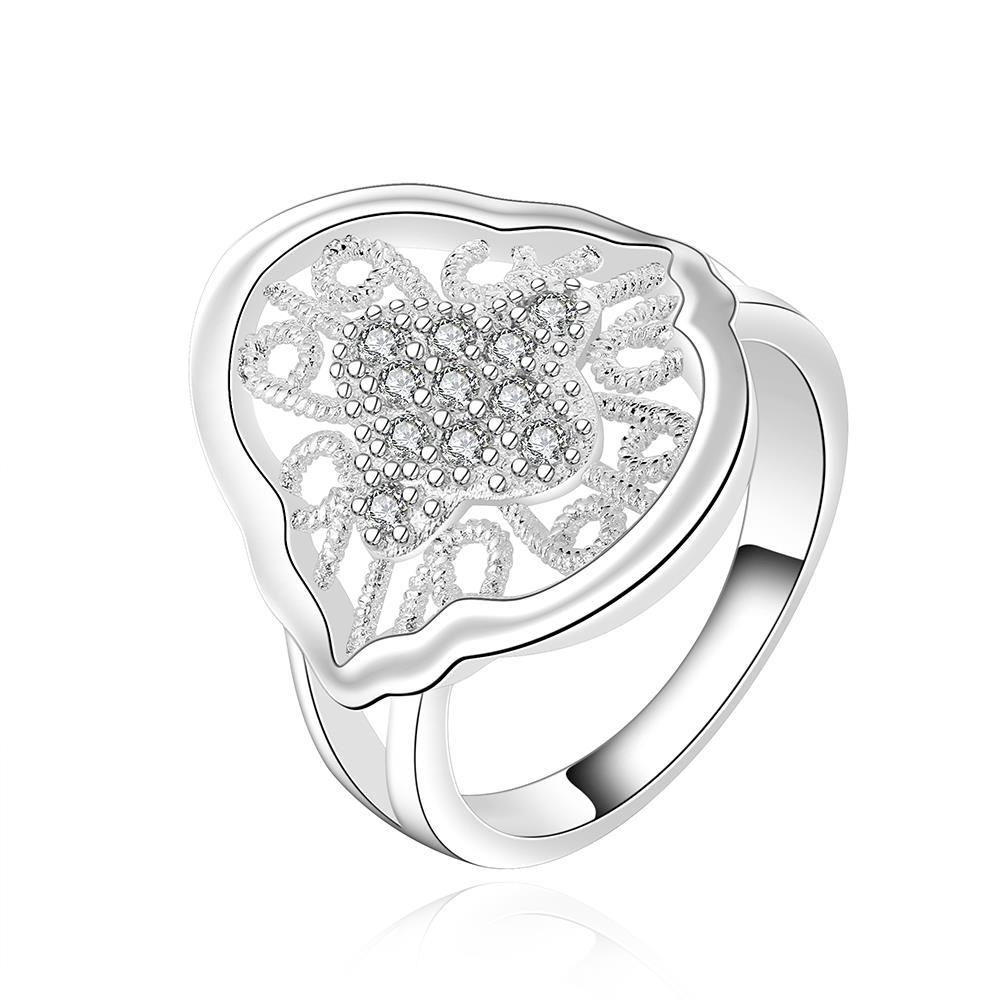 Vienna Jewelry Sterling Silver Laser Cut Ingrain Emblem Ring Size: 8