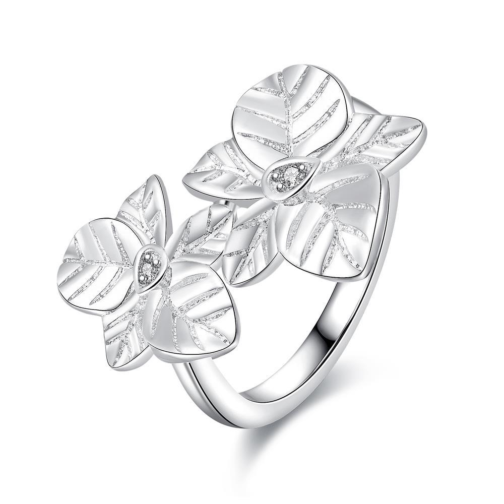 Vienna Jewelry Sterling Silver Duo-Floral Petals Petite Ring Size: 8