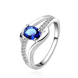 Vienna Jewelry Sterling Silver Petite Sapphire Ring Size: 7 - Thumbnail 0