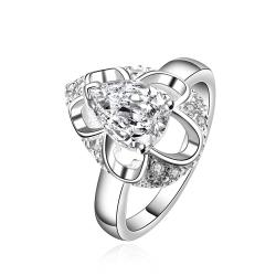 Vienna Jewelry Sterling Silver Crystal Oval Shaped Ring Size: 8 - Thumbnail 0