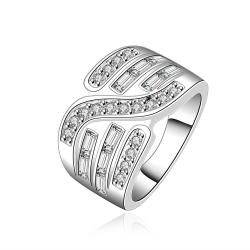 Vienna Jewelry Sterling Silver Swirl Jewels Design Ring Size: 8 - Thumbnail 0
