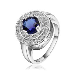 Vienna Jewelry Sterling Silver Petite Mock Sapphire Crystal Covering Petite Ring Size: 8 - Thumbnail 0