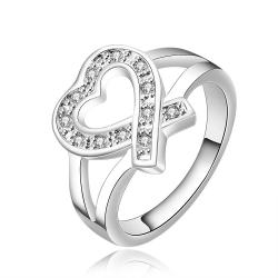 Vienna Jewelry Sterling Silver Open Heart Shaped Petite Ring Size: 8 - Thumbnail 0