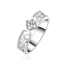 Vienna Jewelry Sterling Silver Laser Cut Lined Crystal Ring Size: 8 - Thumbnail 0