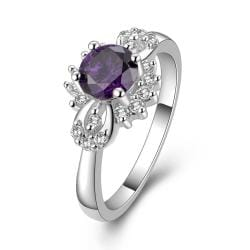 Vienna Jewelry Sterling Silver Purple Citrine Orchid Petite Ring Size: 8 - Thumbnail 0