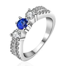 Vienna Jewelry Sterling Silver Mock Sapphire Petite Ring Size: 8 - Thumbnail 0