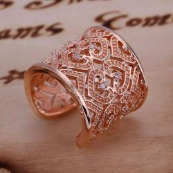 Vienna Jewelry Rose Gold Coloring Sterling Silver Open Clasp Heart Swirl Design Classic Resizable Ring - Thumbnail 0
