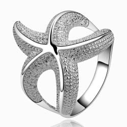 Vienna Jewelry Sterling Silver Starfish Design Ring Size: 7 - Thumbnail 0