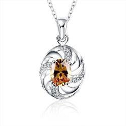 Vienna Jewelry Orange Citrine Spiral Jewels Lining Drop Necklace - Thumbnail 0