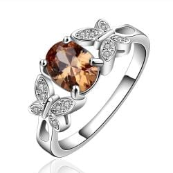 Vienna Jewelry Sterling Silver Petite Ruby Gem Duo-Butterfly Ring Size: 7 - Thumbnail 0