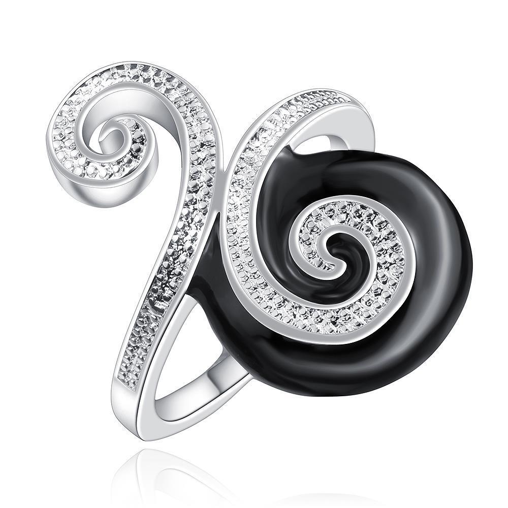 Vienna Jewelry Sterling Silver Onyx & Jewels Swirl Design Petite Ring Size: 8