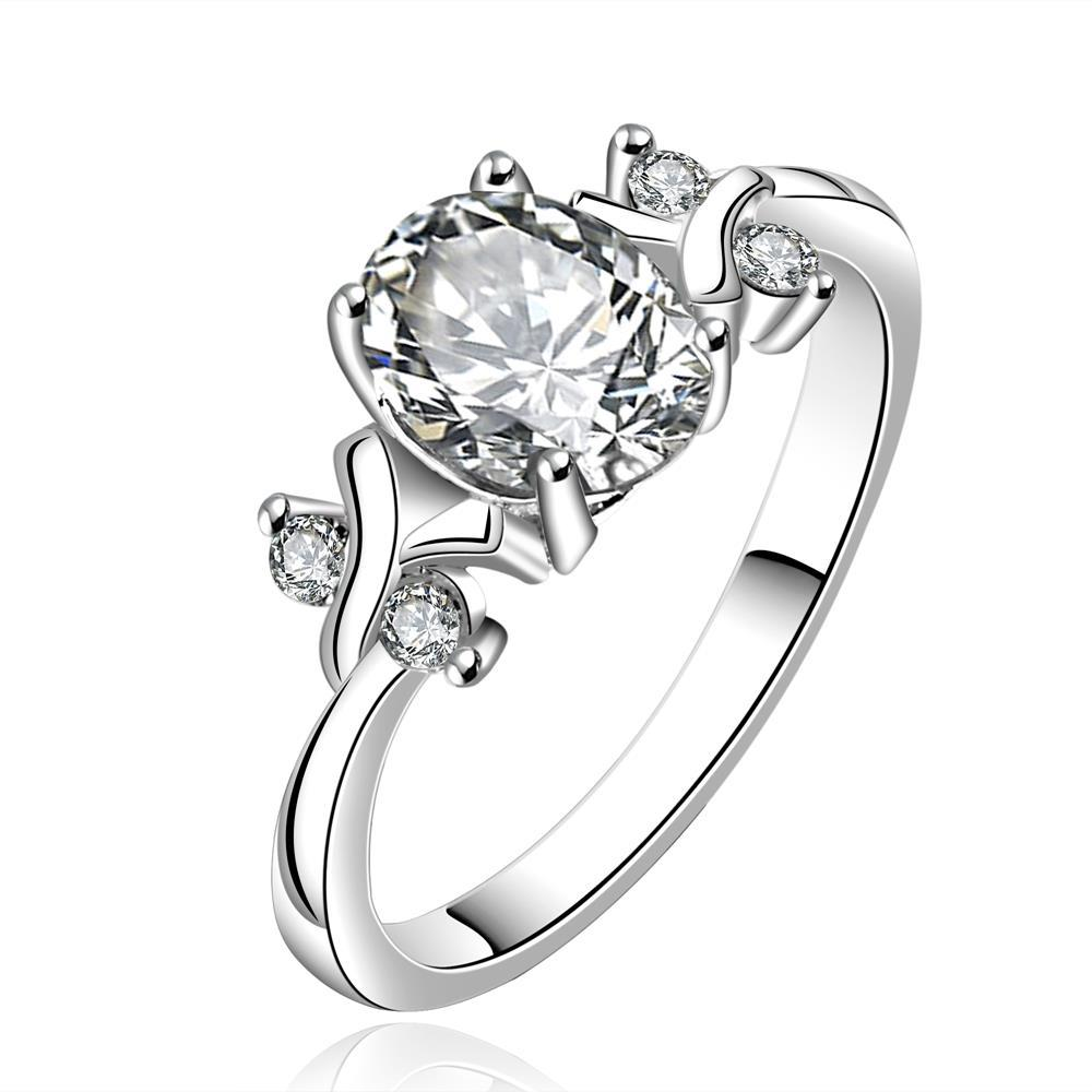Vienna Jewelry Sterling Silver Petite Classic Crystal Princess Inspired Petite Ring Size: 8