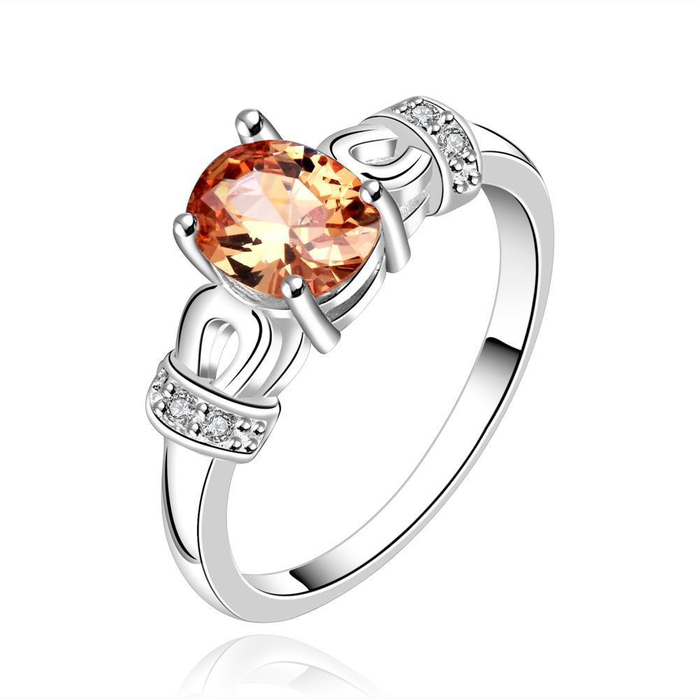 Vienna Jewelry Sterling Silver Mini Orange Citrine Gem Woven Petite Ring Size: 8