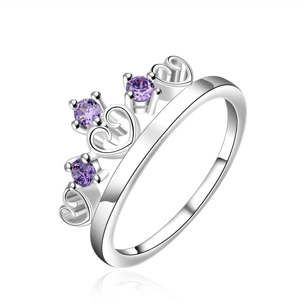 Vienna Jewelry Sterling Silver Purple Citrine Tiara Shaped Ring Size: 8
