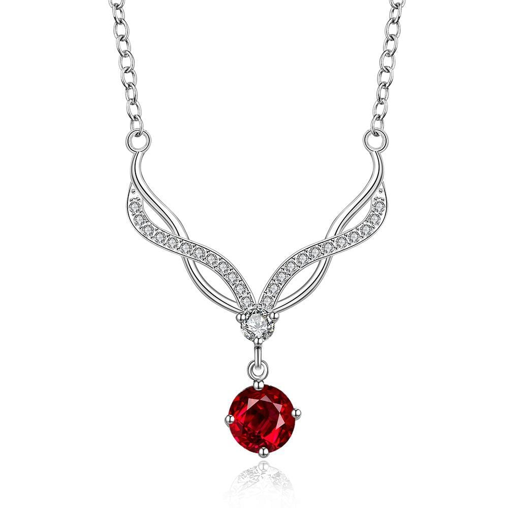 Vienna Jewelry Sterling Silver Modern Classical Ruby Gem Necklace