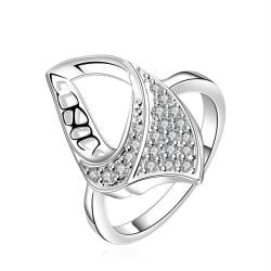Vienna Jewelry Sterling Silver Hollow Abstract Emblem Ring Size: 8 - Thumbnail 0