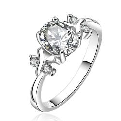 Vienna Jewelry Sterling Silver Petite Classic Crystal Princess Inspired Petite Ring Size: 8 - Thumbnail 0