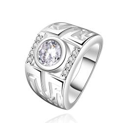 Vienna Jewelry Sterling Silver Center Crystal Classic Band Size: 8 - Thumbnail 0