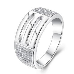 Vienna Jewelry Sterling Silver Duo-Laser Cut Lined Band Size: 8 - Thumbnail 0