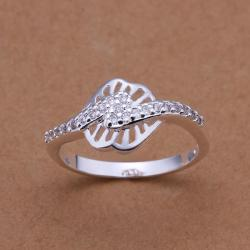 Vienna Jewelry Sterling Silver Laser Tone Clover Stud Ring Size: 8 - Thumbnail 0