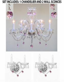 *3 Piece Set* Lighting Set Crystal Chandelier & 2 Wall Sconces With Pink Crystal*Hearts*