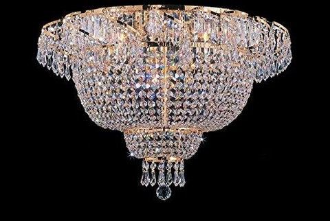 Flush French Empire Crystal Chandelier Lighting H19.5 x W24