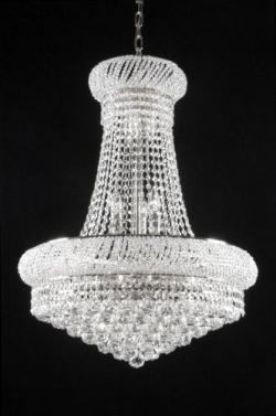 New French Empire Crystal Chandelier Lighting H24x W32 - Thumbnail 0