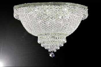 French Empire Crystal Semi Flush Basket Chandelier Lighting
