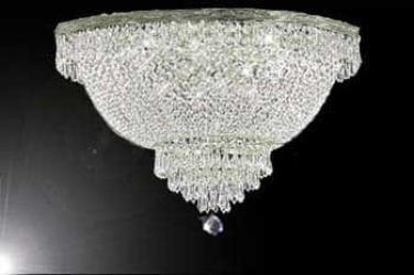 French Empire Crystal Semi Flush Basket Chandelier Lighting - Thumbnail 0